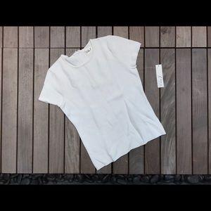 Eliza J   Ivory Short Sleeve Top w Back Half Zip